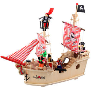 Simulation 3D Stereoscopic Caribbean Wooden Ship Pearl Ship Model Children's Puzzle Assembly Toy Boy