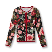Womens knit sweater round neck long sleeve printing ladies cardigan