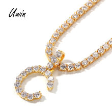 5mm CZ Initial Letters Necklaces Pendant For Men Women Gold Silver Color Fashion Hip Hop Jewelry with 4mm Tennis Chain