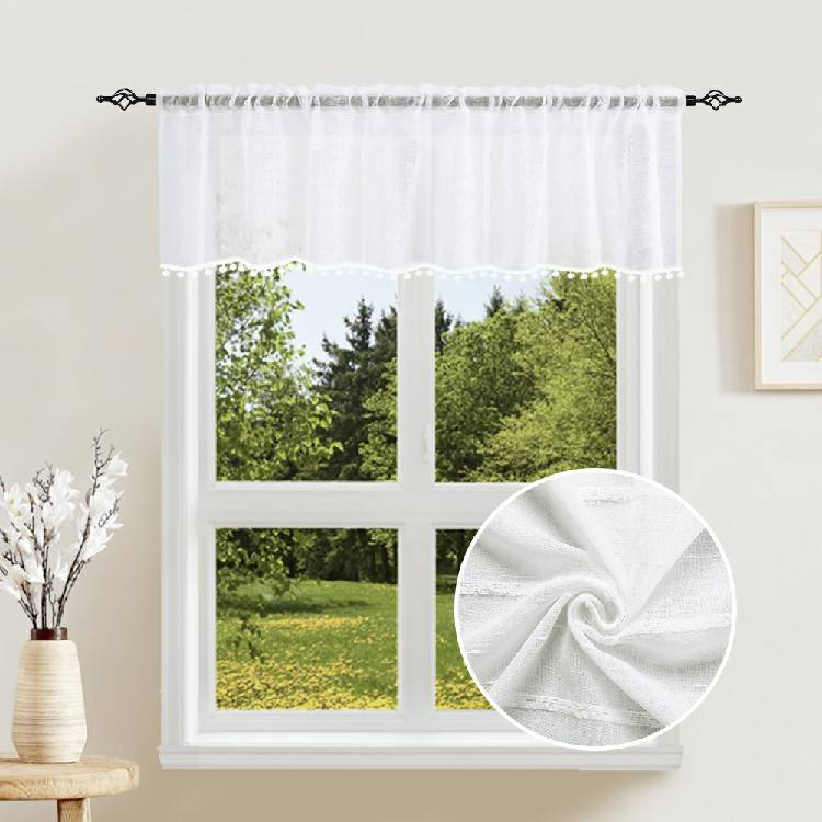 New design custom flame retardant kitchen home white curtains with attached valance