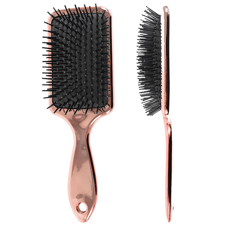 China manufacturer Anti-Static high quality electroplated rose gold cover custom logo square wig vent air hair paddle brush