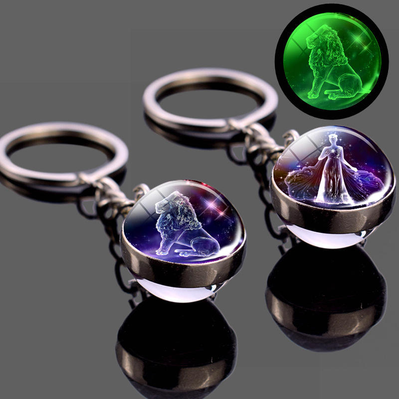 Promotional Birthday Gift 12 Constellation Luminous Keychain Glass Ball Pendant Zodiac Keychain Glow In The Dark Key Chain