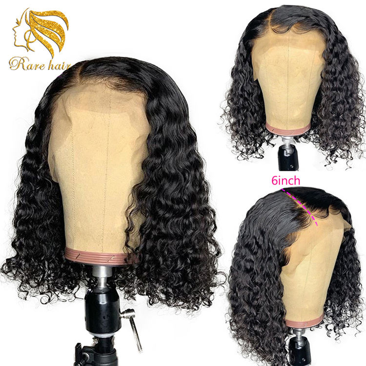 Short Brazilian Deep Curly 13x6 Lace Front Wigs Human Hair Bob 150% Density Glueless Lace Front Wigs Pre Plucked With Baby Hair