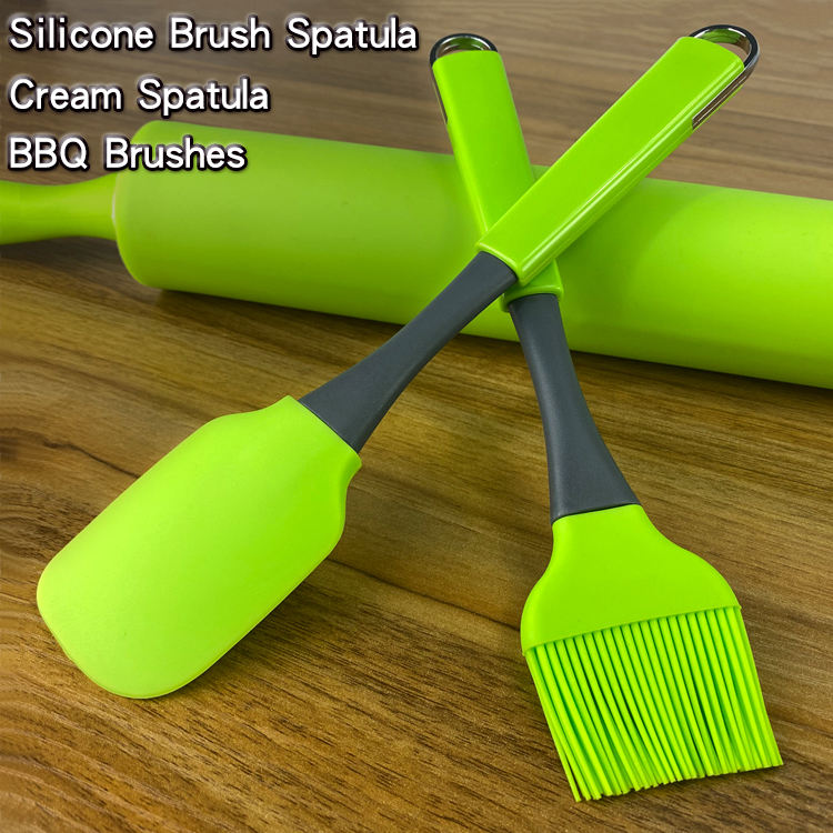 Silicone Brush/Spatula Heat Resistant BBQ Brushes Cake Cream Spatula Pastry Baking 2PC Sets