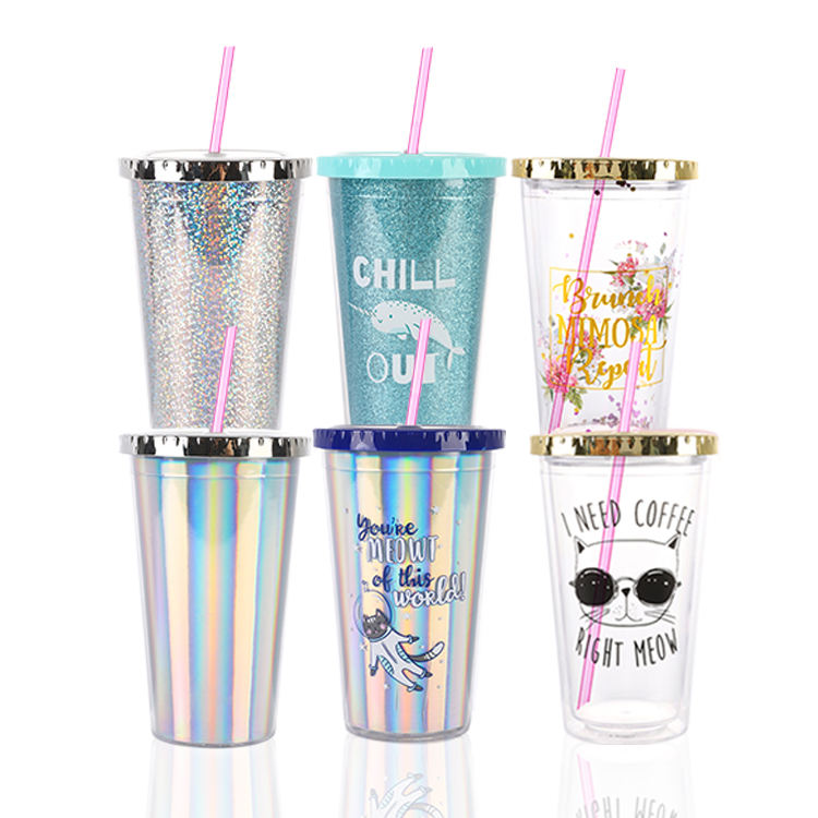 OEM ODM BPA Free Customizable 16OZ double wall AS plastic Tumbler with straw