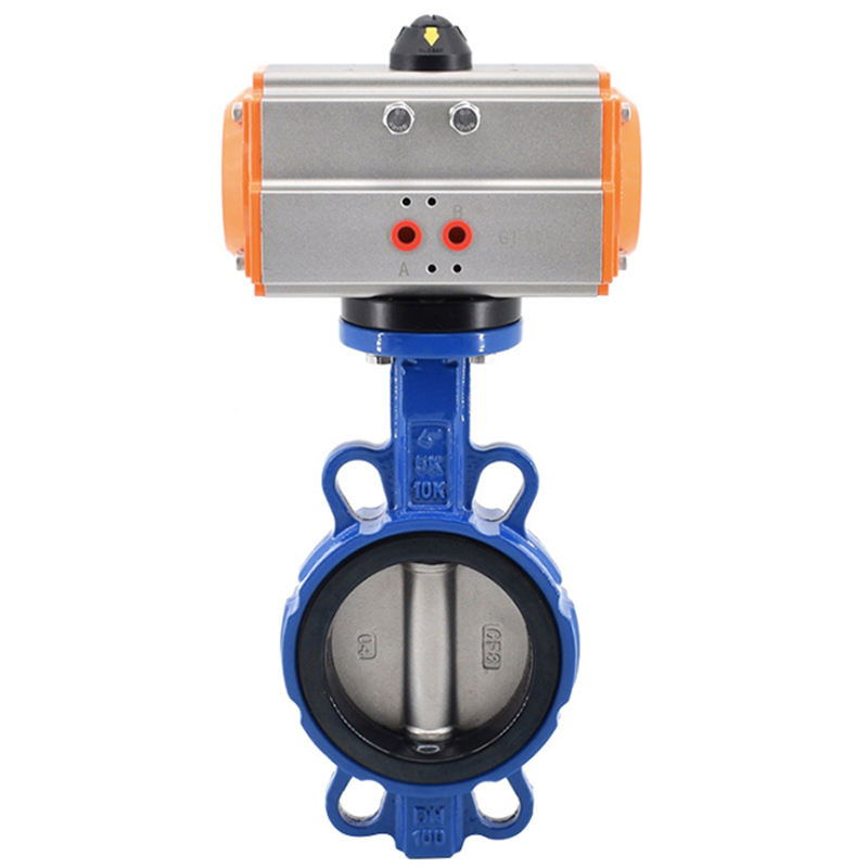AWWA C504 150LB PN16 wafer type pneumatic actuators control butterfly valve