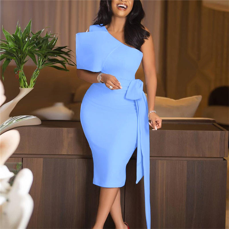 Women Bodycon Dresses One Shoulder with Bow Tie Waist Belt Light Blue Dress Elegant Slim African Event Celebrate Occasion