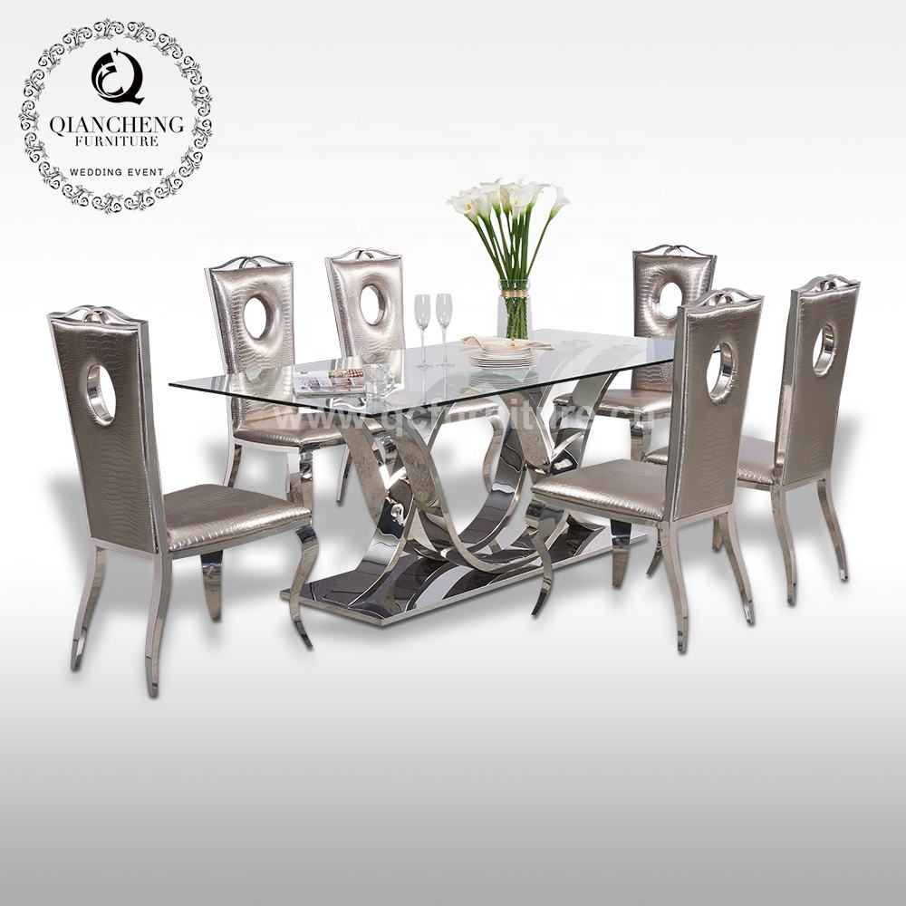 Modern design 8 seater 12mm thick tempered glass dining table