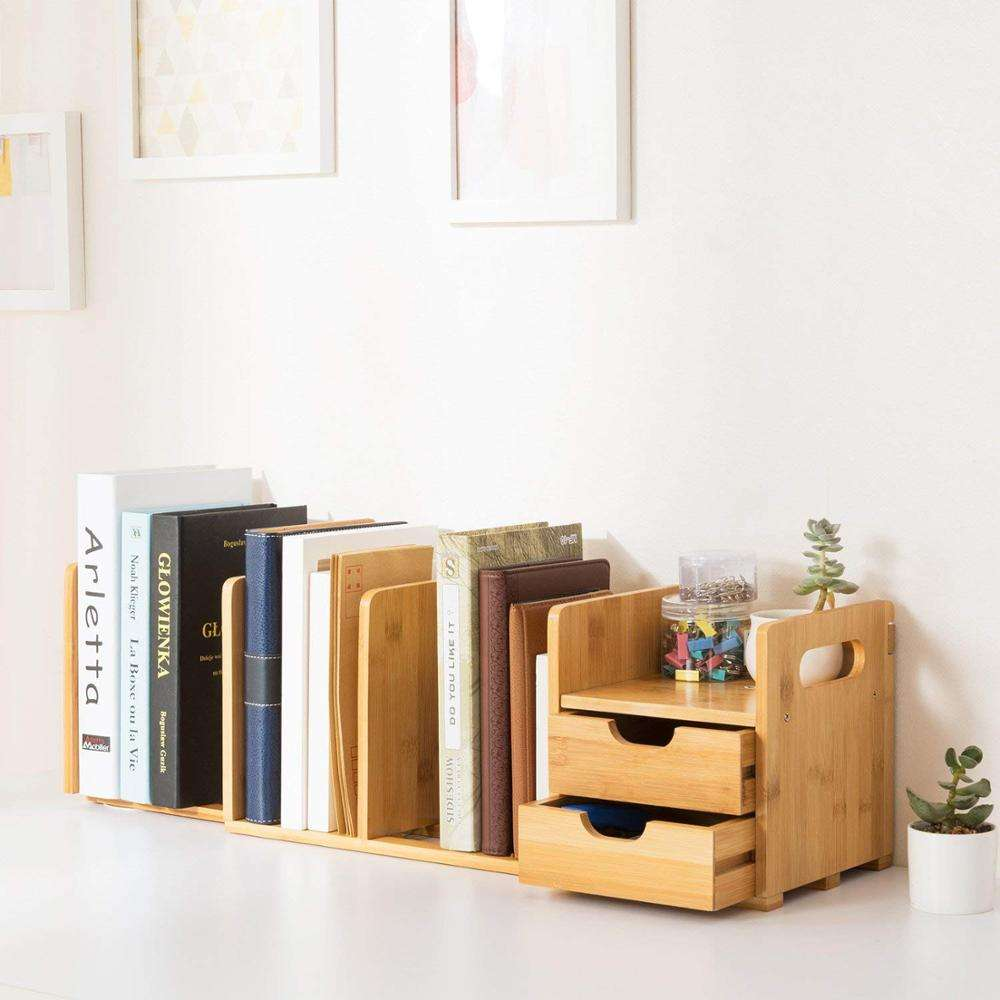 Natural Bamboo Desk Organizer with Extendable Storage for Office and Home, CD Holder Media Rack