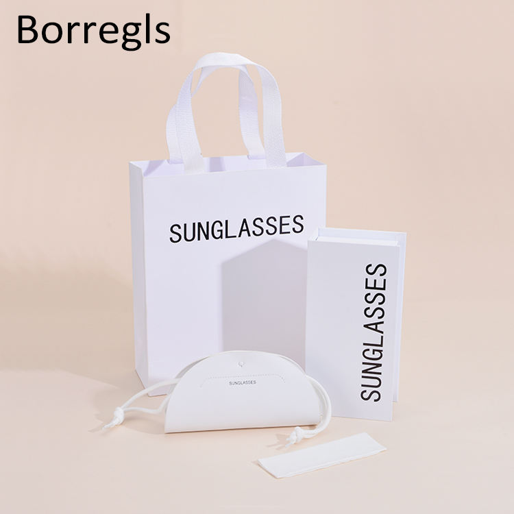 Borregls Sunglasses Package Custom Logo Packaging Box PU Leather Glasses Case with Paper Box,PU Bag and Clothing
