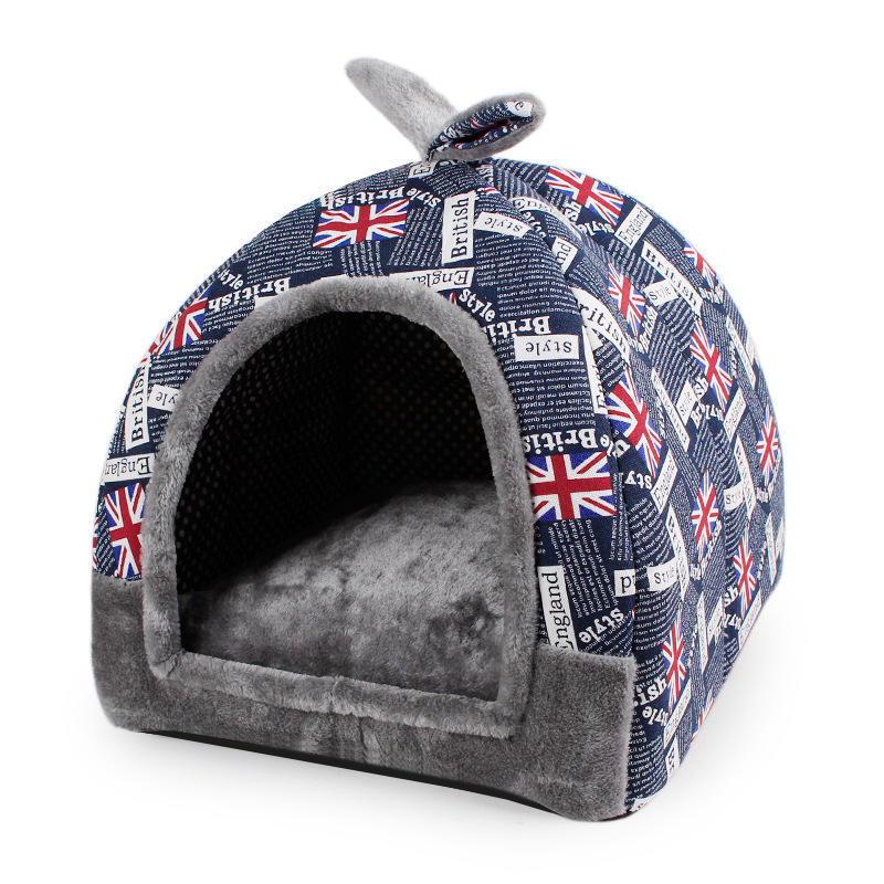 Fashion Print Self-warming 2 in 1 Opvouwbare Comfortabele Pet Cat Bed Tent Huis Hond Bed