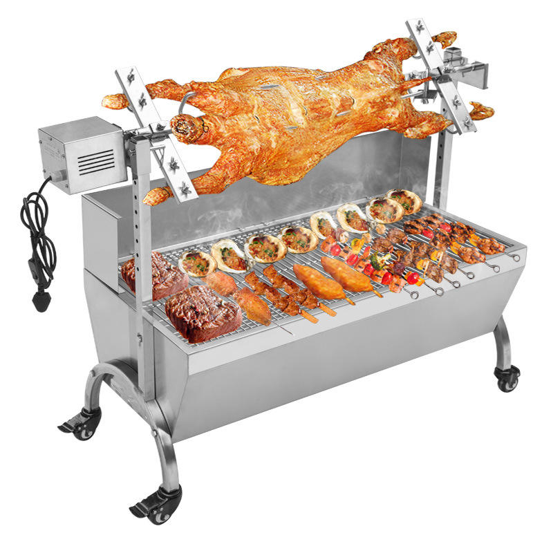 Stainless Steel Spit Roaster Pig Skewer Roast Wholesale Roast Charcoal Barbecue BBQ Grill Pig Lamb Spit Rotisserie Roaster