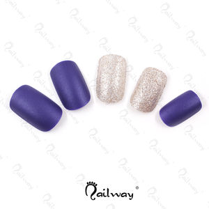 Wholesale 24pcs Press on False Nails Matte Blue and Golden Glitter Artificial Fingernails Full Cover False Nail Tips With Glue