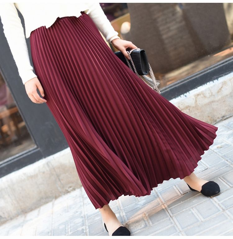 Wholesale Stylish Women Polyester High Waist Formal Long Maxi Pleated Skirt