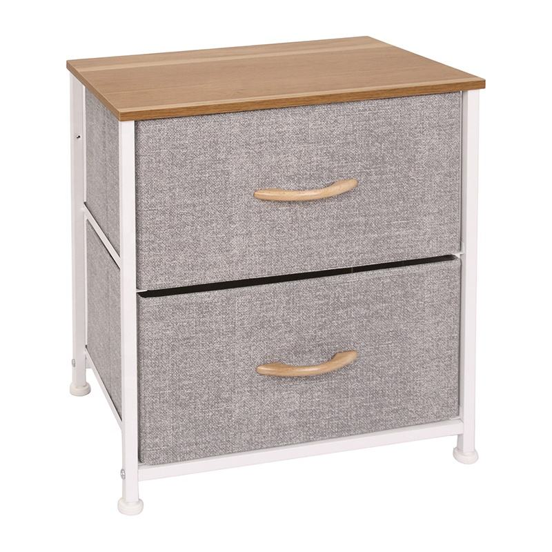 Lightweight Living Room 2 Layers Nonwoven Fabric Top Cabinet 2 - Drawer Storage Chest