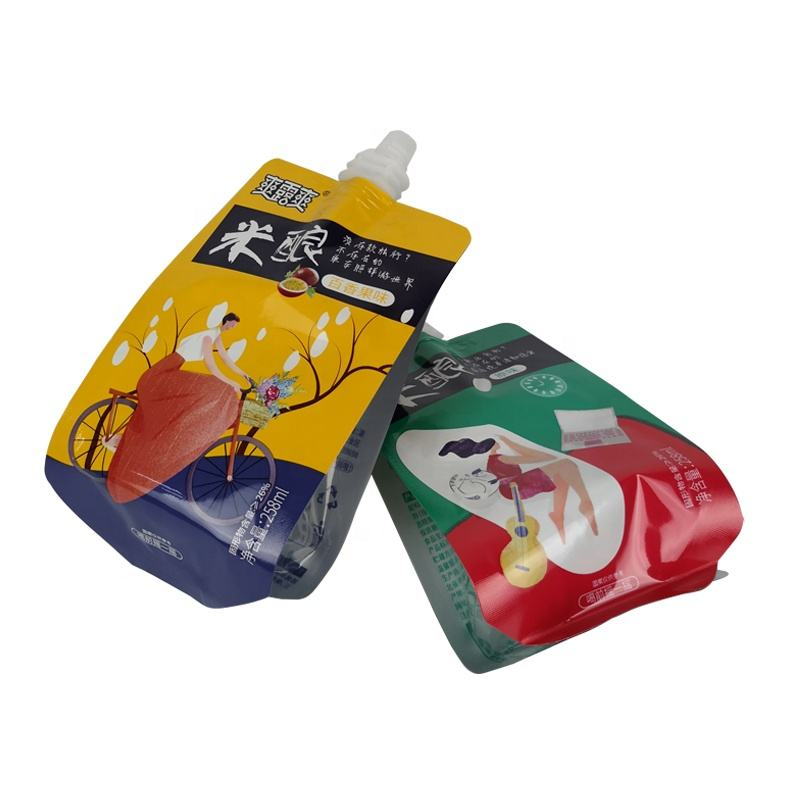 Drink Pouches Customized Metallic Aluminum Foil Jelly Packaging Bag Food Grade Juice Stand Up Spout Pouches With Cap Drink Packaging Sachet
