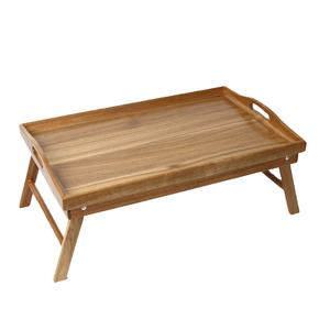 Wholesale Customized Foldable Breakfast Food Wooden Bamboo Bed Serving Tray With Legs