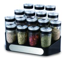 Magnifying lid kitchen spice storage jars set with rack