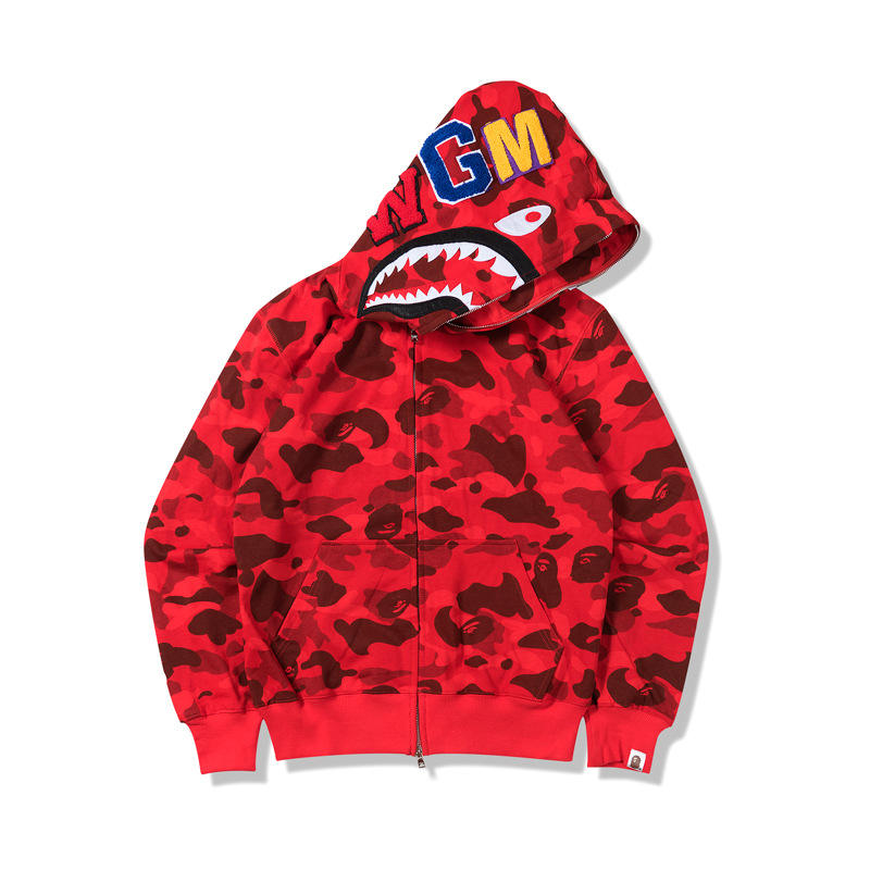 High Quality Bape Ape Shark Camo Hoodie Fashion Casual Teenage Adult Sweater Full Zipper Unisex Jacket