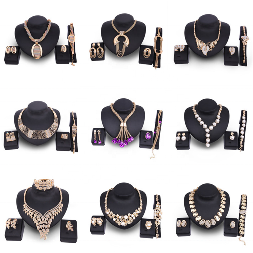 CLARMER 2020 Fashion Women Jewelry Set Saudi 18K Gold Plated Wholesales Cheap Bridal African Jewelry Set
