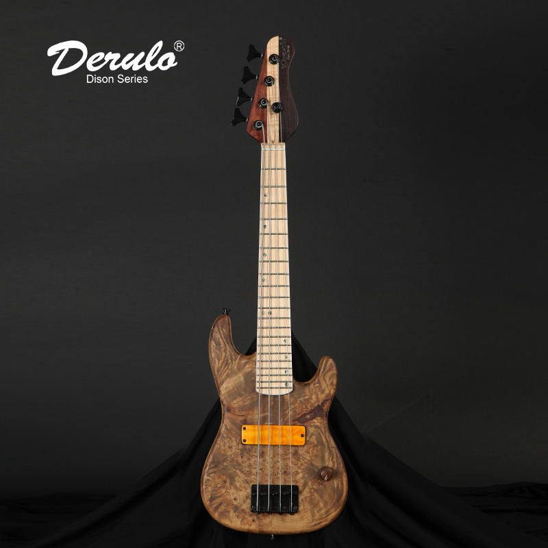 Derulo Electric bass guitar OEM 5 Strings MINI Travel Bass Buckeye Burl Top Phoenix custom For Kid musical instruments