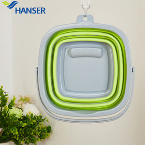 Hanser cheap 4L portable plastic folding bucket set