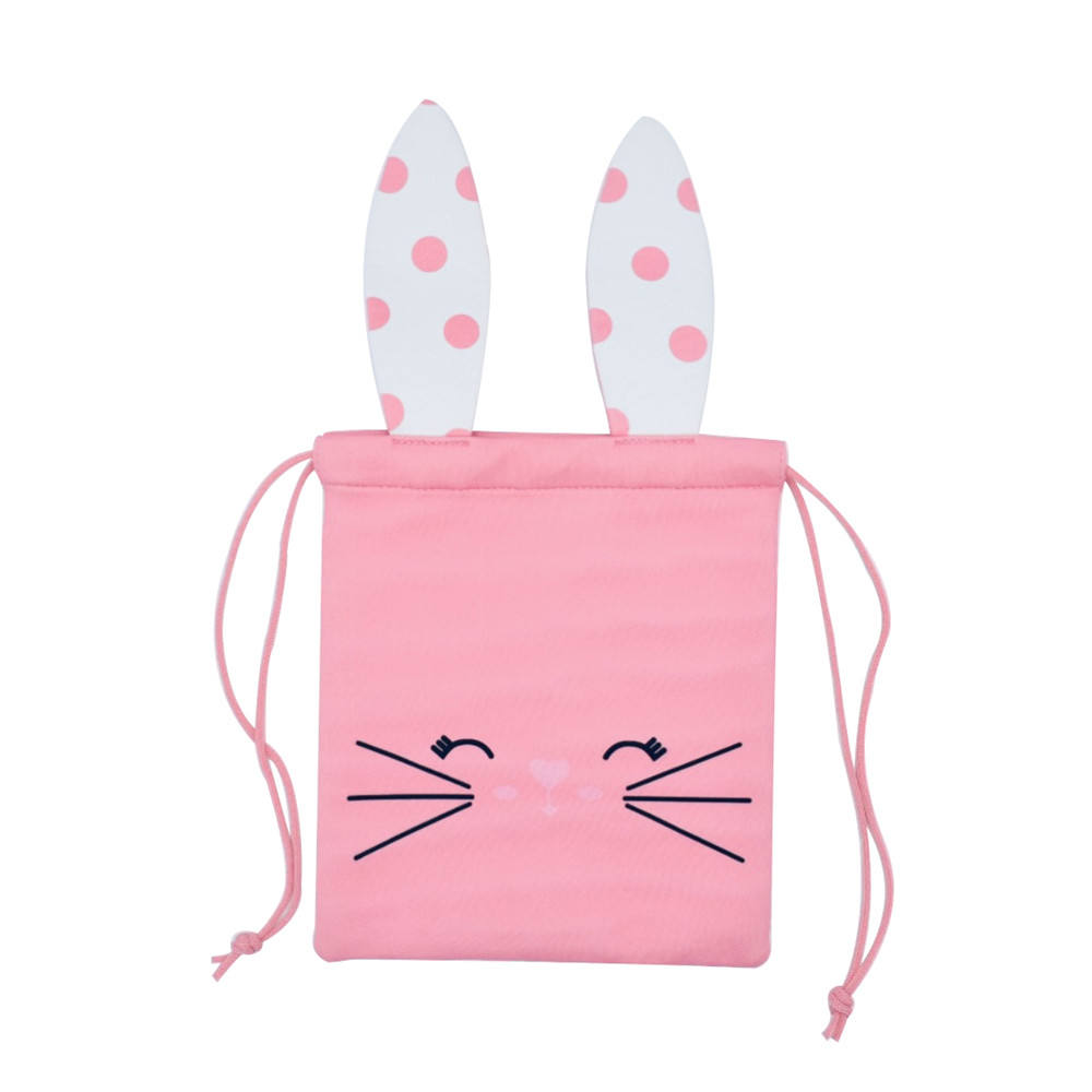 "20"" Newest Customized Cute Pink Rabbit Easter Party Favor Bags Bunny Drawstring Bag with Ears"