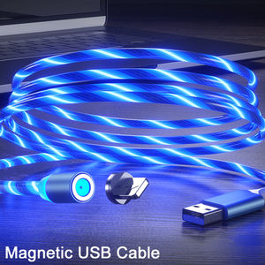 Luminous Fast Charging Micro USB Type C Cable Flowing LED Light Strong Magnetic 3 in 1 USB Cable for Iphone 11 Pro Max