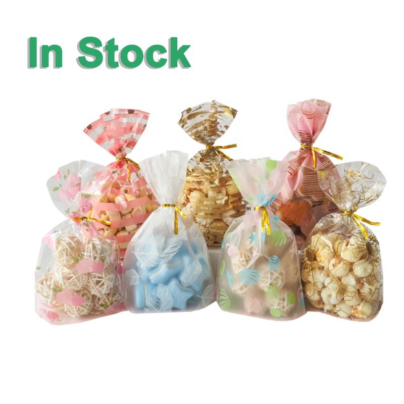 Cute Printed Pattern Clear Cellophane Bakery Popcorn Cookies Candies Dessert Party Gift Wrapping Treat Bags With Twist Ties