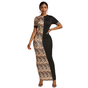 Bodycon 5XL Splicing Animal Pattern African Maxi Dresses Casual Leopard Zebra Print Lady Women Long Dress