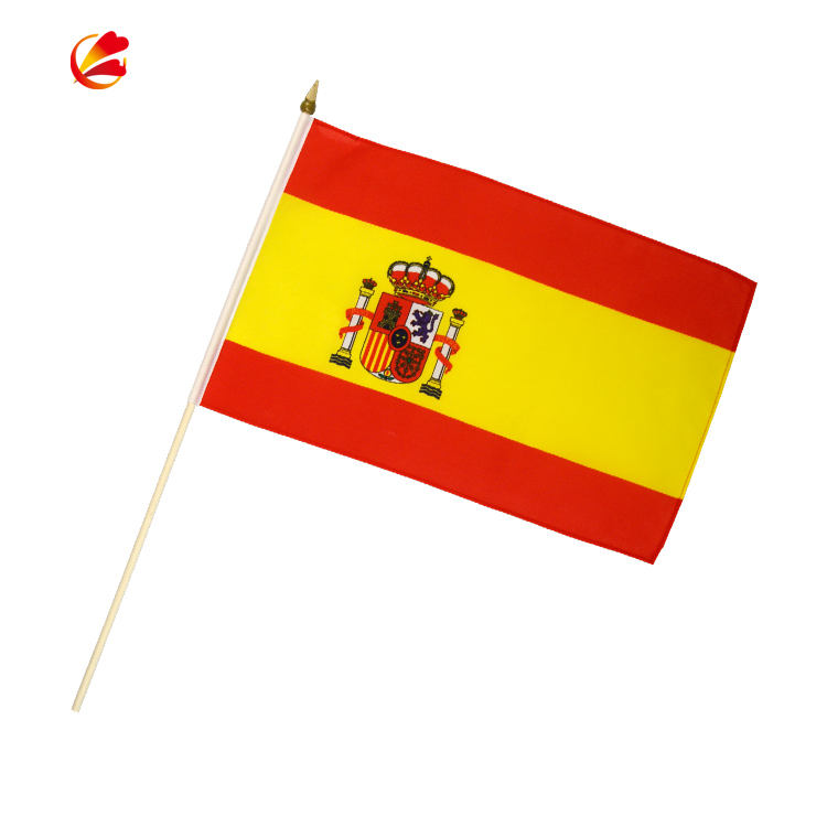 Low Price 100% Polyester Digital Printing Red Yellow Spanish Hand Flag With Pole