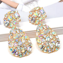 Kaimei Wholesale ZA Square Metal Dangle Drop Earrings Studded Full Colorful Crystals Waterdrop Rhinestone Earrings For Women