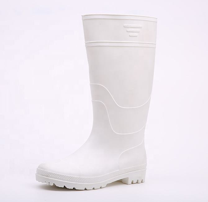 Food industry waterproof oil acid alkali resistant non safety white men plastic pvc rain boots
