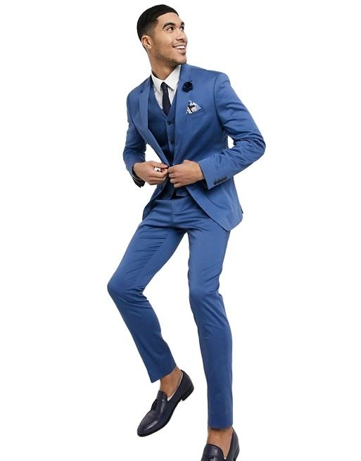 OEM Großhandel Hot Sale Hochzeit Skinny Men Suits 3 Stück Slim In Blue Stretch Cotton