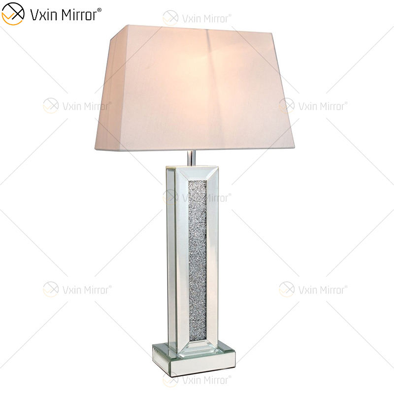 China Supply WXTL-006 Modern Bedroom Silver Crushed Diamond Table Lamp With lampshade