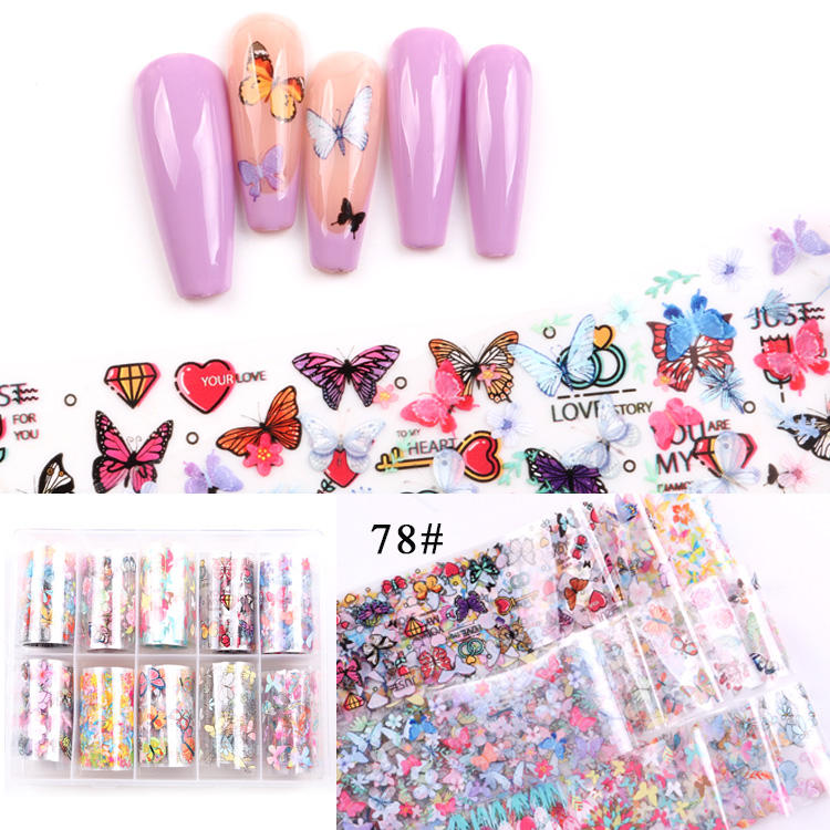 TSZS High Quality 4*100cm Width Flower Laser Sticker brand LOGO Transfer Paper Roll Set Butterfly 2020 Nail Art Foil