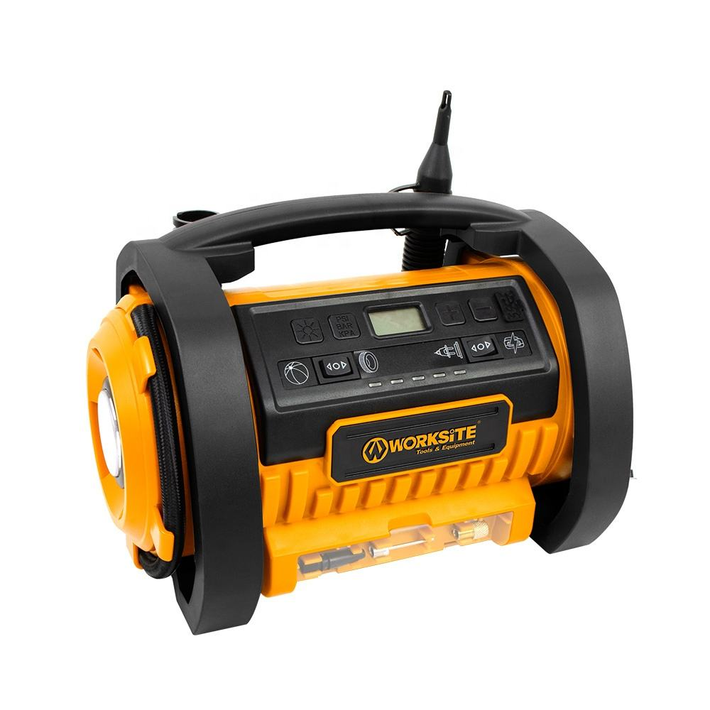 Worksite Tire Inflator Deflator Air Pump Dual Power AC12V /20V Battery Cordless Inflator Deflator