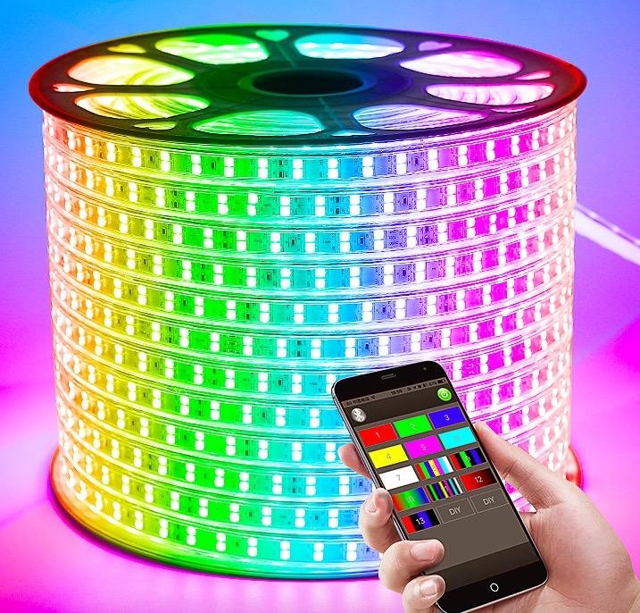 220V 110V LED Strip 5050 50メートル100mロールIP67 Waterproof RGB Dual Color Rope照明led Tape RGB Outdoor照明