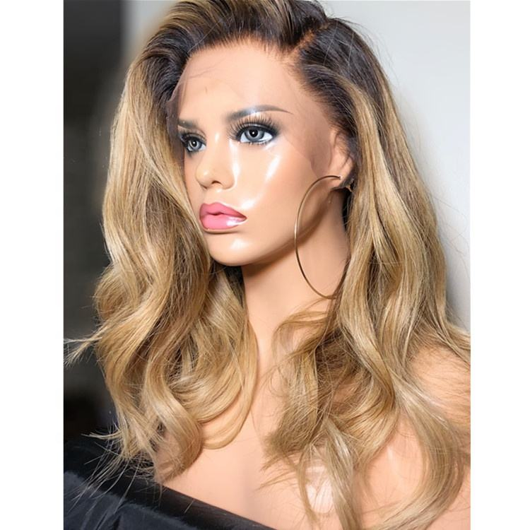 Invisible Fake Scalp Ombre Honey Brown Natural Wave Brazilian Remy Human Hair Lace Front Wigs