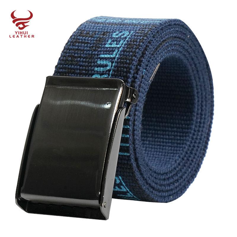 Nouvelles idées de produits 2021 imprimé logo toile ceinture sangle ceinture en tissu de coton pour hommes