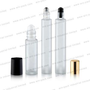 10ml frosted glass perfume essential oils bottles with aluminum lip metal roller ball