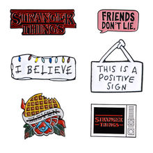 STRANGER THINGS Enamel Pins TV Series Eleven Brooch Friends don't lie Badge Denim Shirt Lapel Pin Gothic Jewelry Gift for Fans