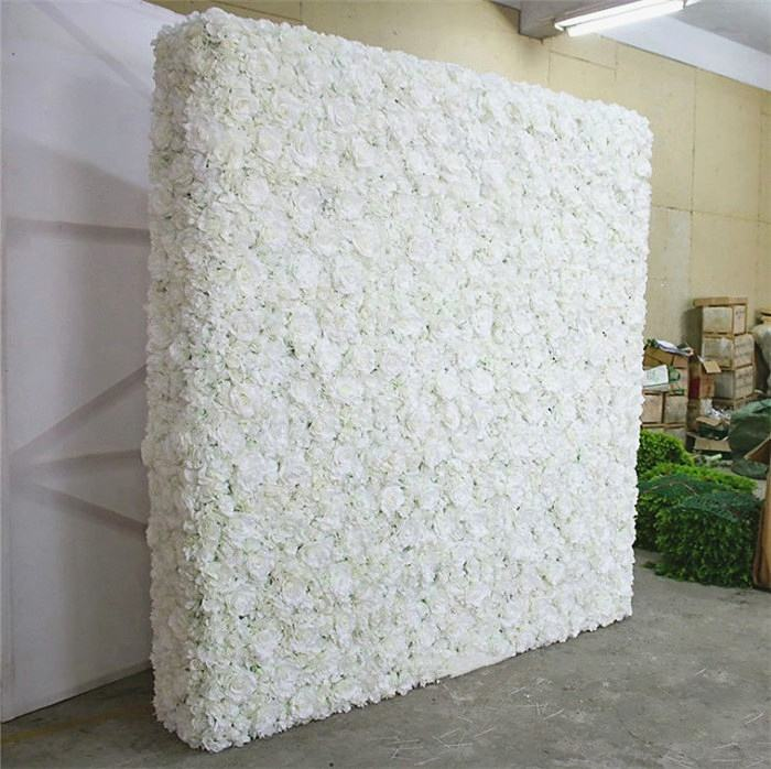 F-1606 Ins Discount Floral Wedding Stage Decor 40*60 CM White Rose Panels Artificial Flower Walls Backdrop