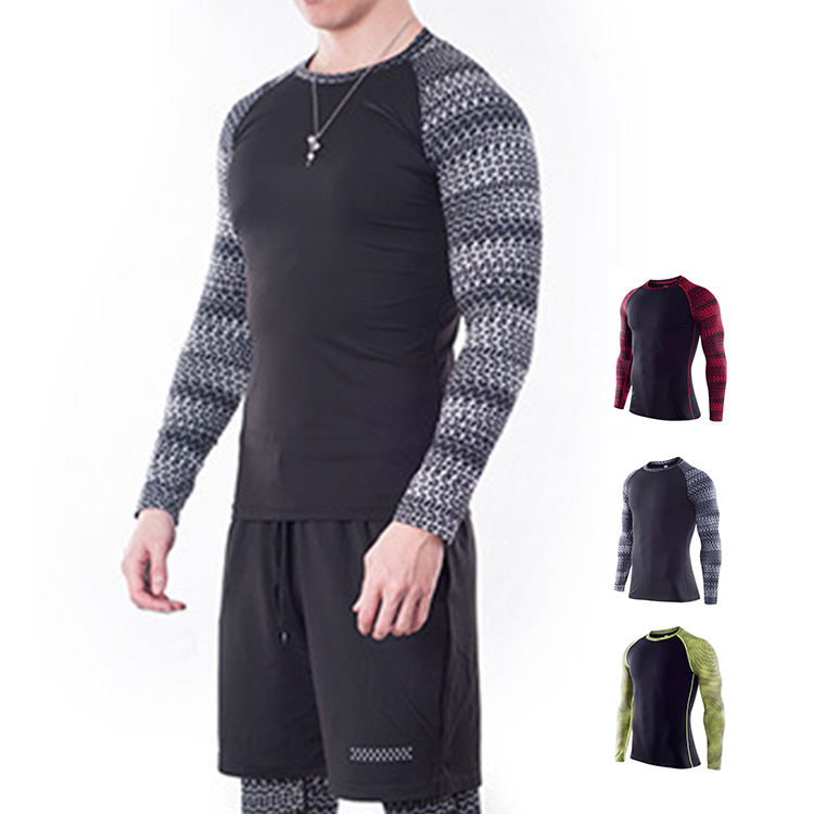 Fitness Sportswear Workout Clothes Oem T-shirt Print Knit Compression Men Gym Wear