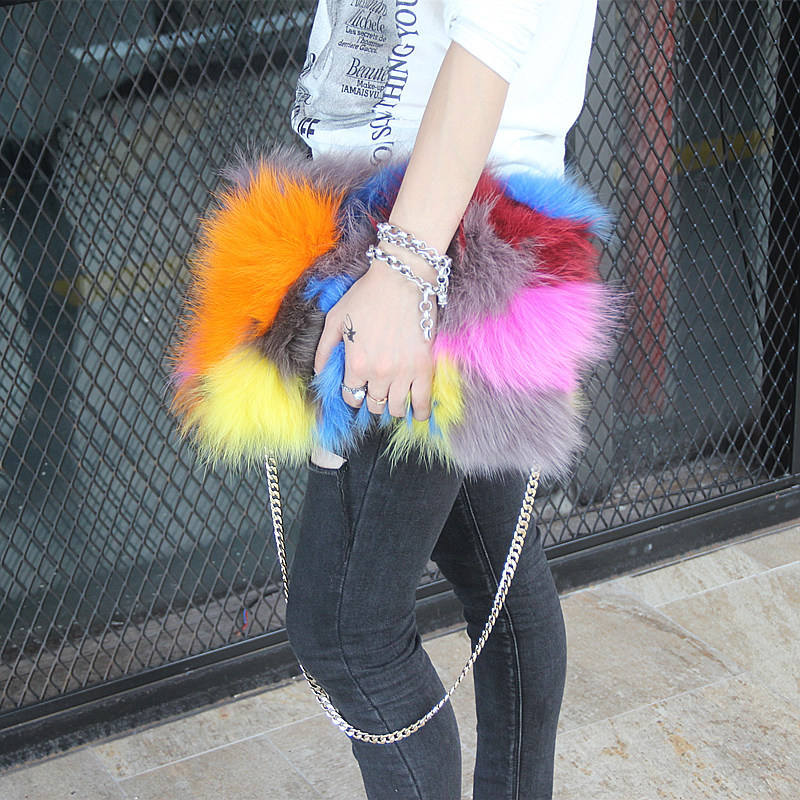 VJ-3208 New Style Famous Brand Fashion Faux Fur Hand Bag Ladies Keychains Big Furry Real Fur Purses With Fox Fur Slides
