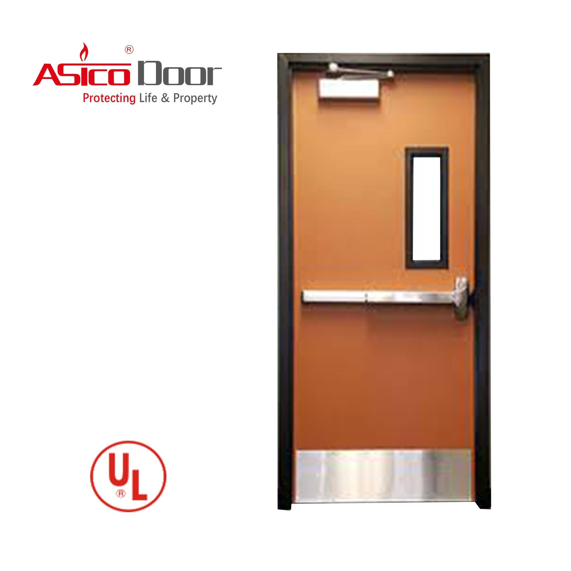 American Standard Size UL Listed Fire Rated Steel Hollow Metal Commercial Door With Panic Push Bar And Glass