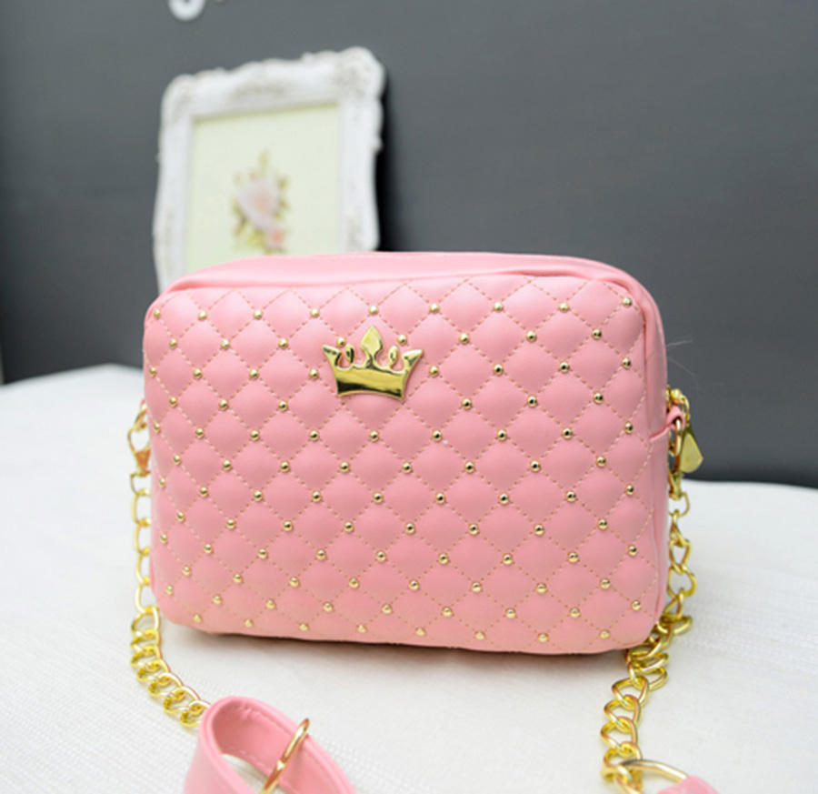 Small Women Bag Fashion Handbag With Crown Mini Rivet Shoulder Bag Women Messenger Bag 2019 Hot Sale