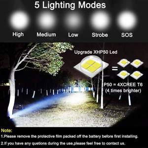 Input Output Camping Flashlight Waterproof 18650 Battery Flash Light Tactical Zoomable 5 Modes USB Rechargeable XHP50 LED Torch