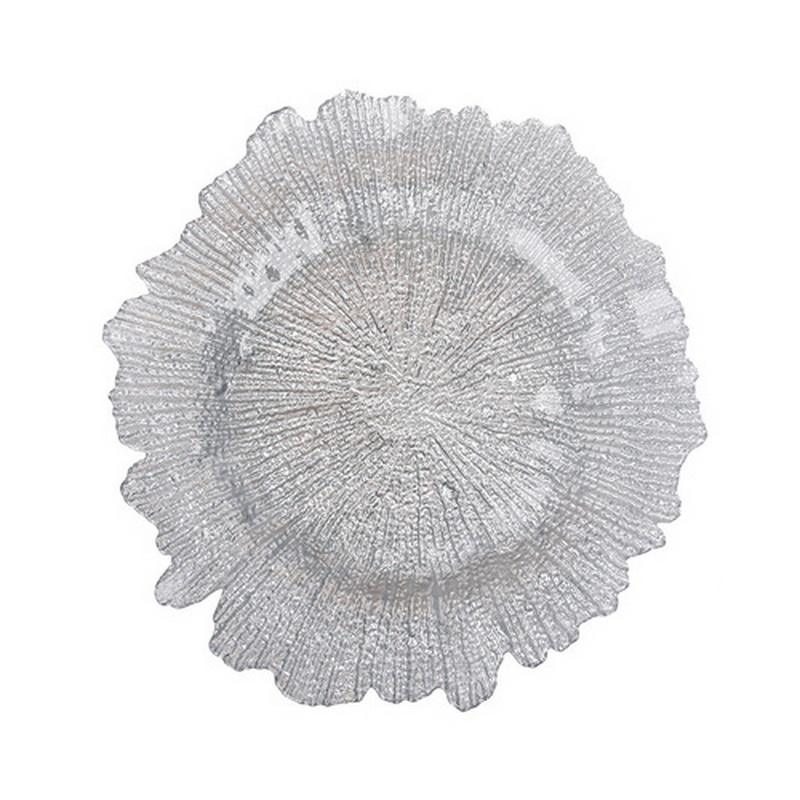 Silver and Gold 13'' Wedding Glass Tableware Fruit Tray Dining Plate