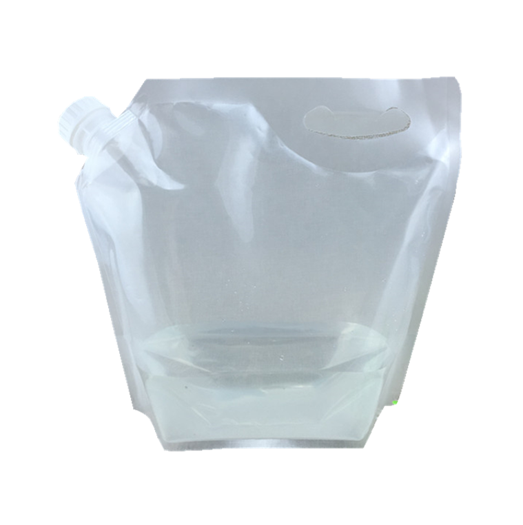 RTS 2/3/5/L Resealable PET PE type food packaging bags stand up flat bottom pouch transparent Stand up pouch with corner nozzle